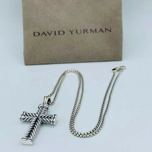 David Yurman Silver Chevron Cross Necklace